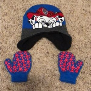 Stocking hat and mittens paw patrol marshal